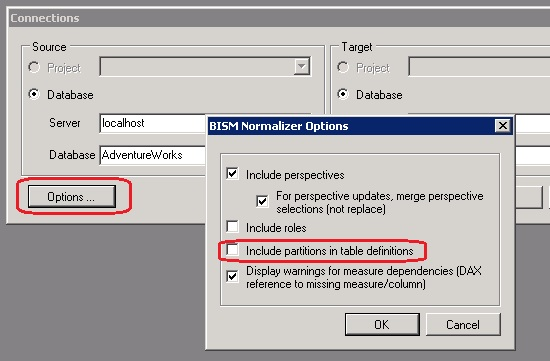 Include Partitions Option